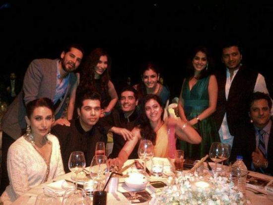 Karishma Kapoor, Karan Johar, Kajol and Raveena Tondon in Manish Malhotra BMW fashion show