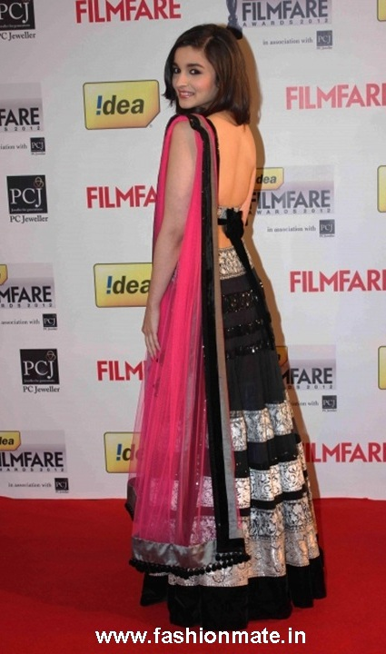 Alia Bhatt sexy back Manish Malhotra Lehenga