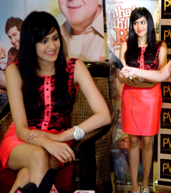 Adah sharma in a peach and black leather dress-fashion 2013