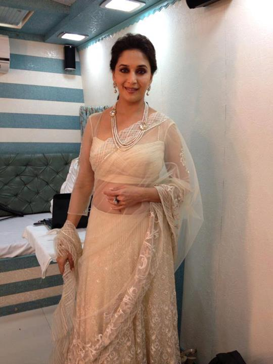 Madhuri Dixit in Sheer White Saree by Tarun tahiliani