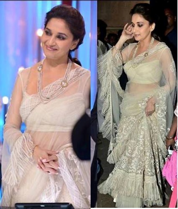 Madhuri dixit in white net saree by tarun tahiliani