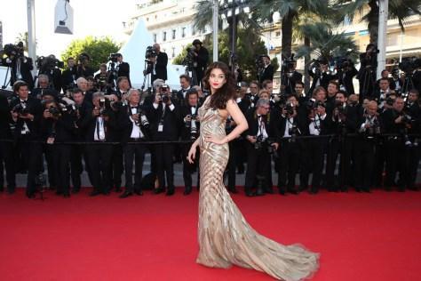 Aishwarya rai at Cannes film festival 2014 in Roberto Cavalli