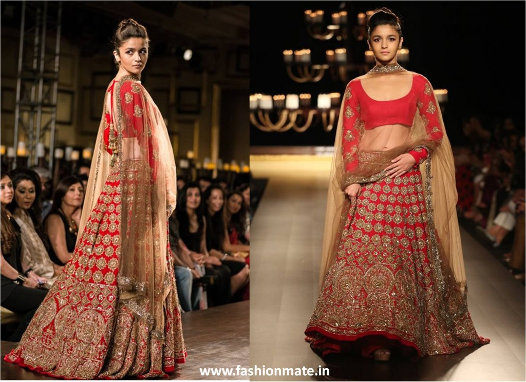 Alia bhatt in manish malhotra bridal lehenga at ICW 2014