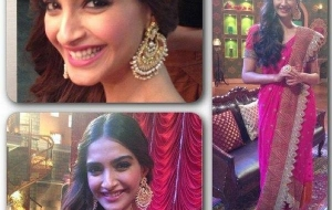 Sonam Kapoor in Anamika Khanna for Khoobsurat Promotions