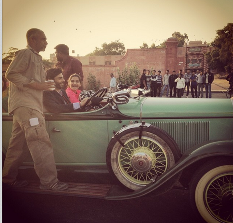 Khubsurat Sonam Kapoor and Charming Fawad Khan take a ride in royal car for Khoobsurat Movie