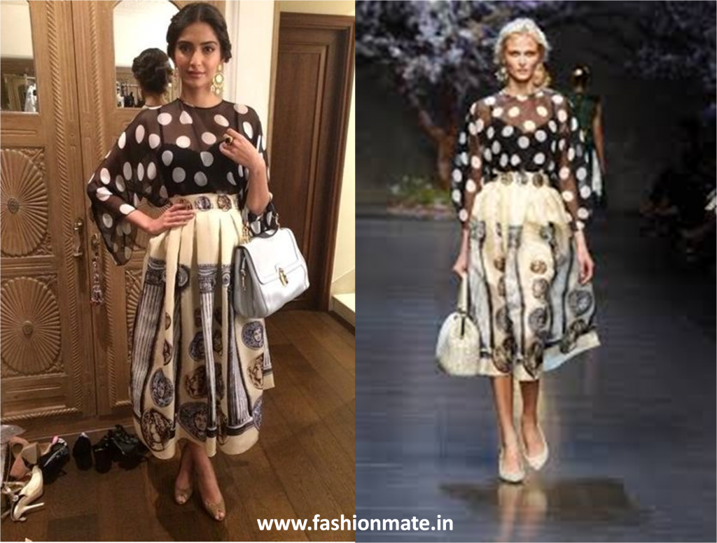 Sonam kapoor in dolce & Gabbana for khoobsurat promotions