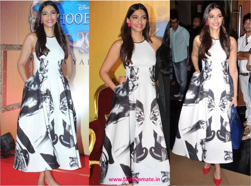 Sonam kapoor in toni maticevski at khoobsurat trailer launch