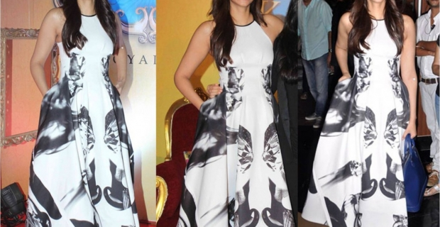 Sonam Kapoor in toni maticevski at the trailer launch of Khoobsurat