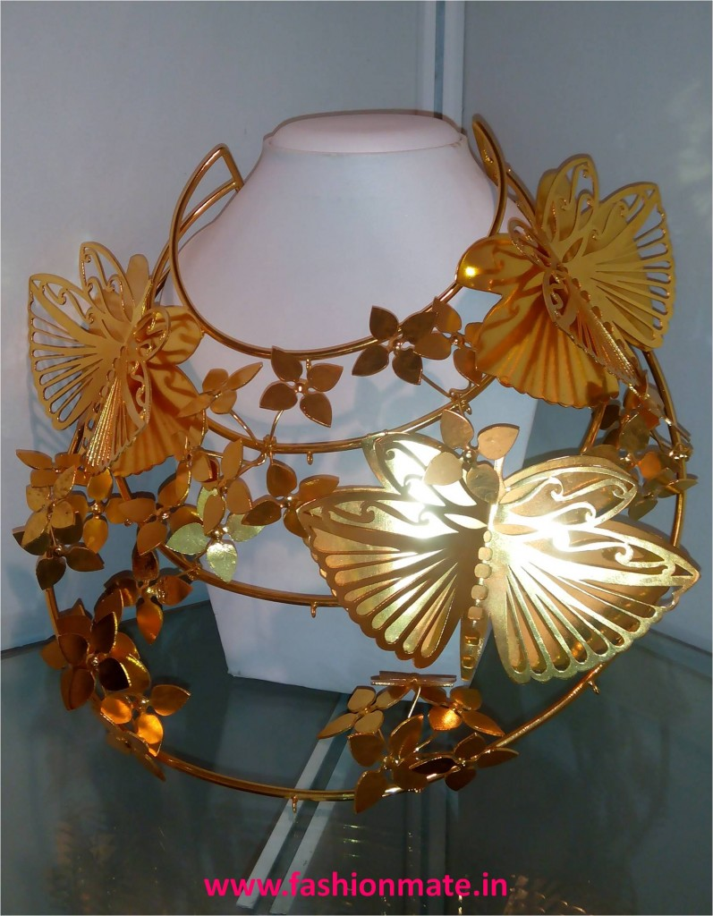 Butterflies neckpiece by Mrinalini Chandra at lfw winter festive 2014