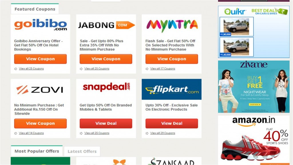 Couponrani coupon codes for various shopping sites
