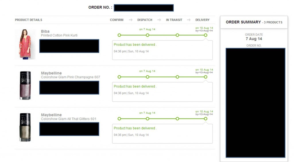 Order Tracking by Jabong