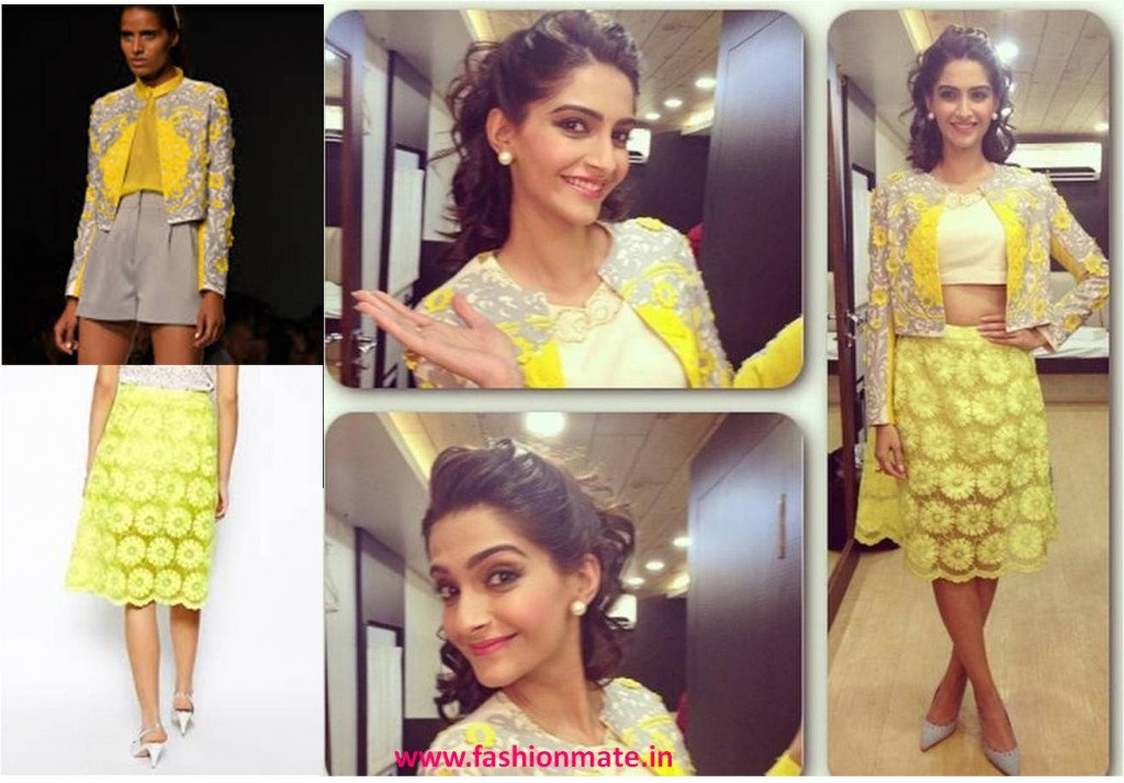 Sonam kapoor in pankaj & nidhi for khoobsurat promotions