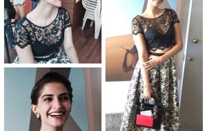 Sonam Kapoor in Sonam Kalra Ahuja Outfit and plaid bun for Khoobsurat promotions!