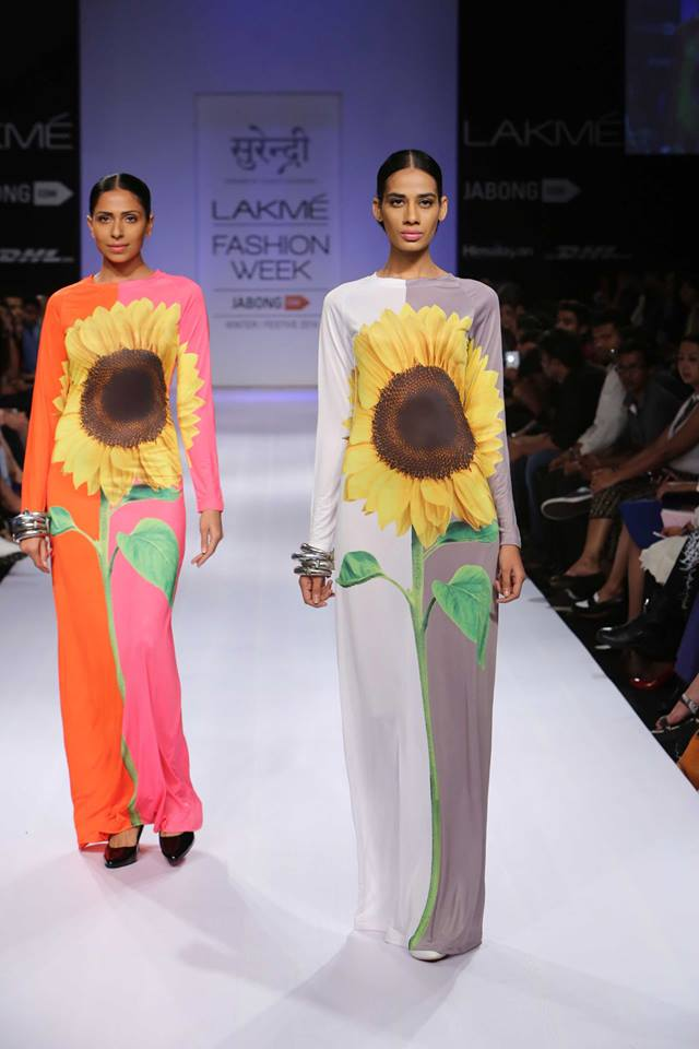 sunflower column dress by surendri at lakme fashion week winter festive 2014