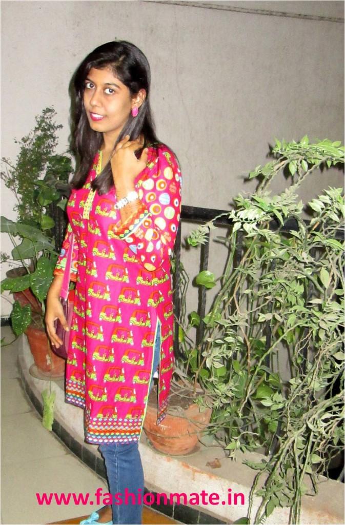 Ethnic autorickshaw print biba kurti styling by fashionmate