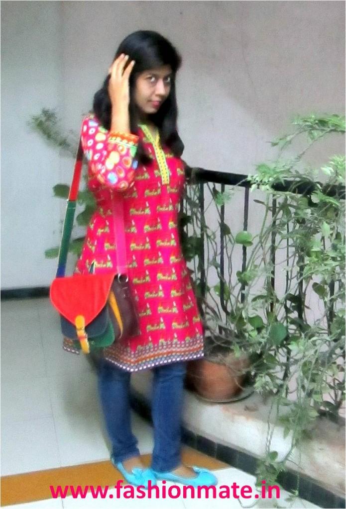Quirky print ethnic kurti biba - ootd fashion 2014
