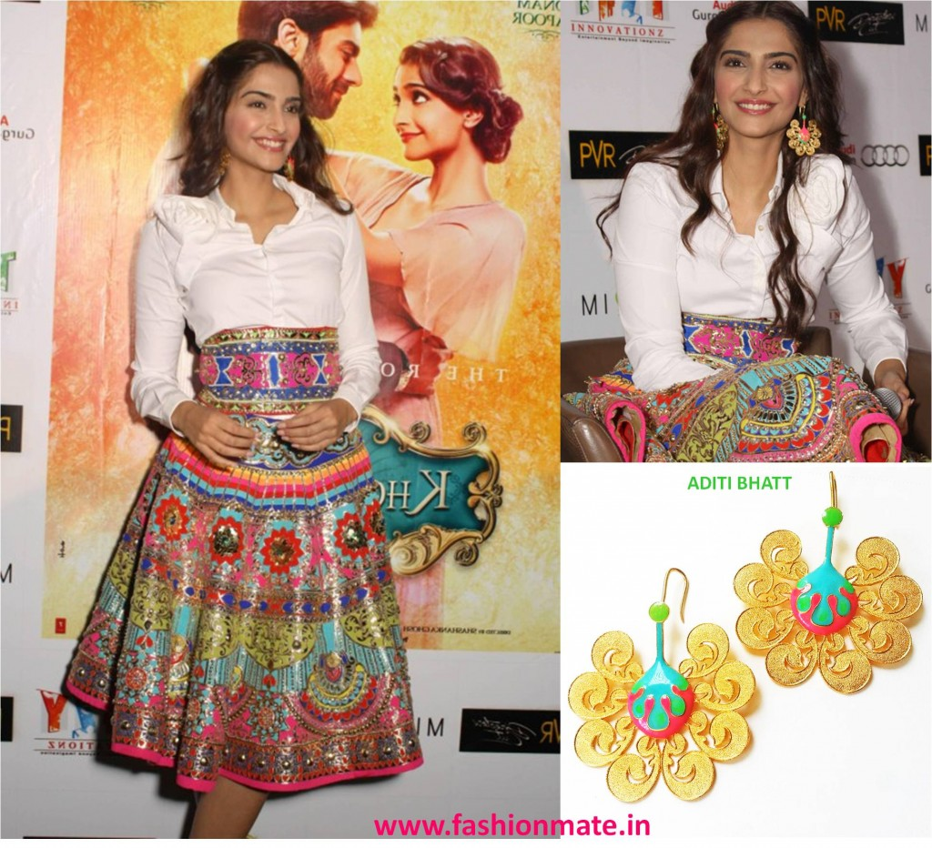 Sonam Kapoor in Manish Arora & aditi for Khoobsurat promotions