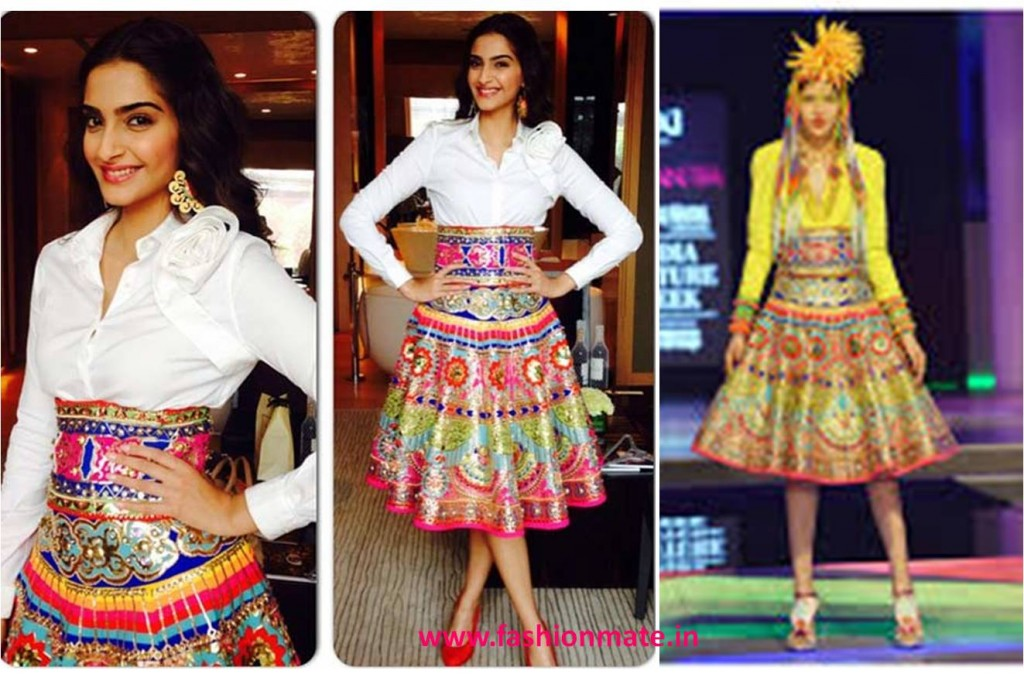 Sonam Kapoor in manish arora lfw 2014 for Khoobsurat promotions