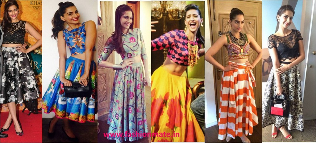 Sonam kapoor top fashion trends 2014 in crop top for khoobsurat promotions