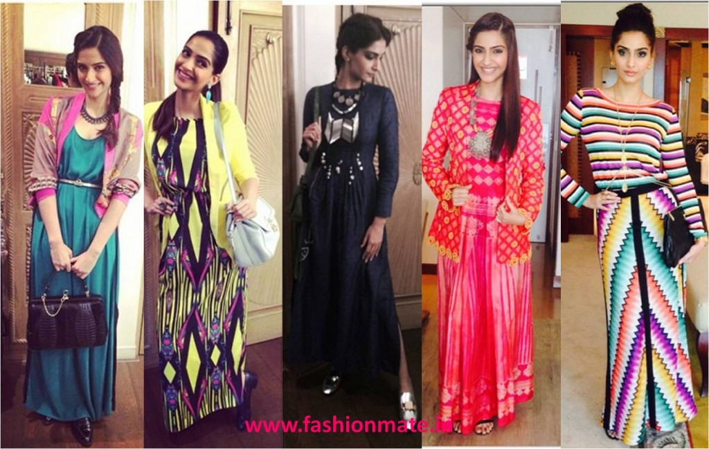 Sonam kapoor in maxi & jumpsuit fashion 2014 khoobsurat