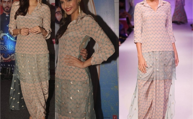 Sonam Kapoor in Payal Singhal for Khoobsurat promotions