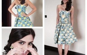 Sonam Kapoor in Mary Katrantzou for Khoobsurat promotions in Bangalore!