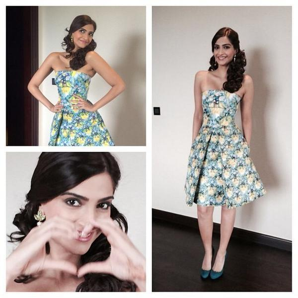 sonam kapoor in Mary Katrantzou for khoobsurat promotions