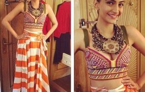 Sonam Kapoor goes tribal in Eastern Pearson for Khoobsurat Promotions