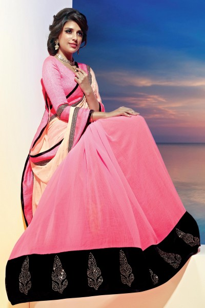 pink saree from sonam kapoor khoobsurat collection
