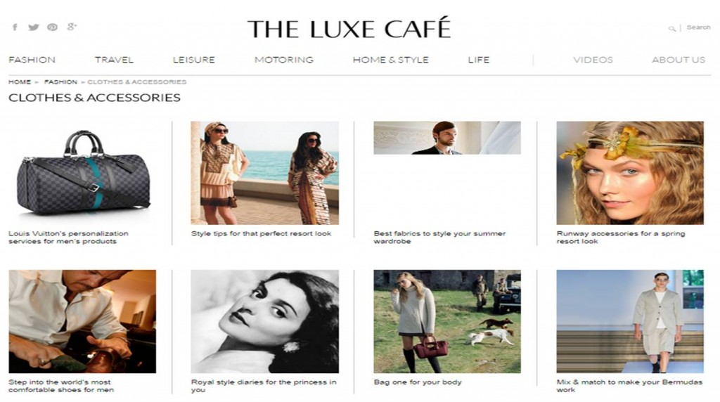 Access to branded fashion, exotic travel and luxury lifestyle at luxe cafe