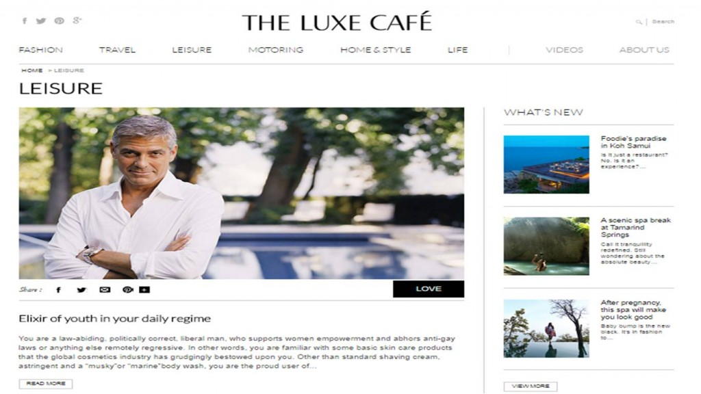 George clooney luxe cafe portal -how to live a luxorious lifestyle