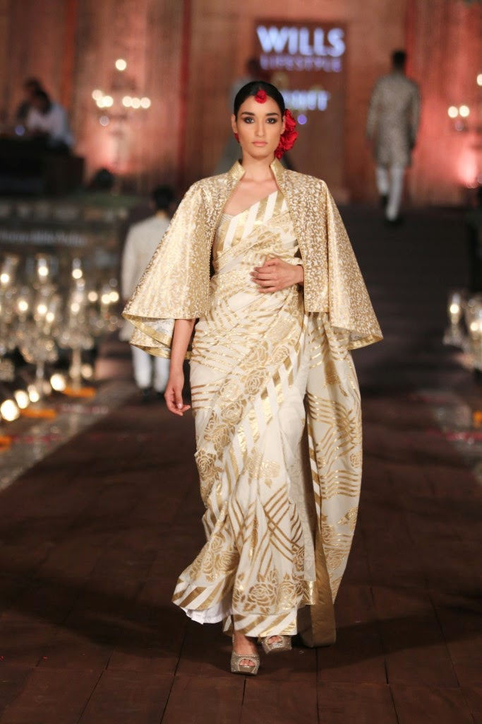 Cape saree rohit bal collection 2015 wifw bridal wear