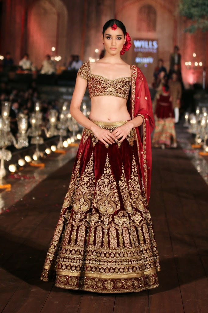 Red velvet lehenga choli by Rohit bal collection 2015 wifw