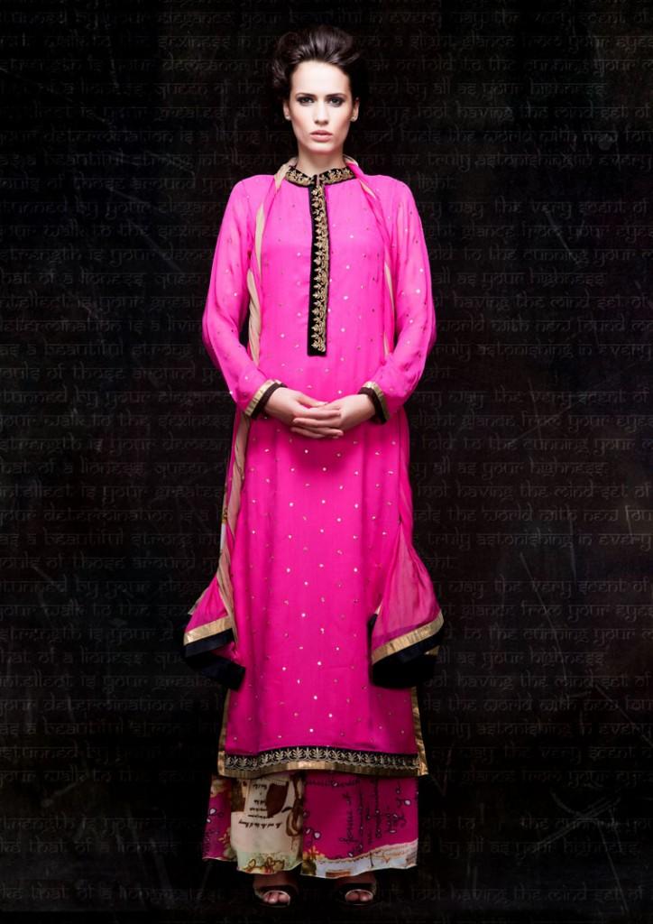 Stylish Pink Pakistani style ethnic anarkali for diwali festival 2014