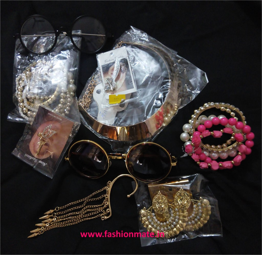 Round glasses oversized circle glares ear-cuffs chaand baalis arm candy bracelets cheap budget shopping haul