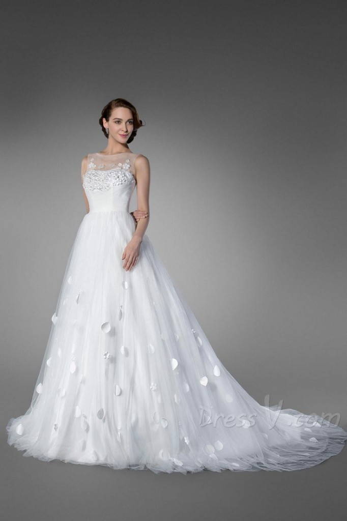 Ball gown style Wedding dress by DressV budget friendly