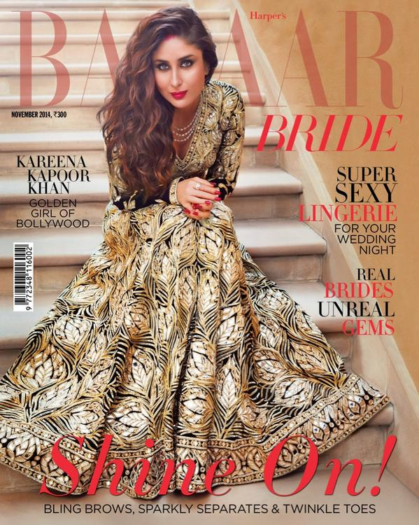 Kareena Kapoor in Abu Sandeep on Bazaar Bride Cover November 2014