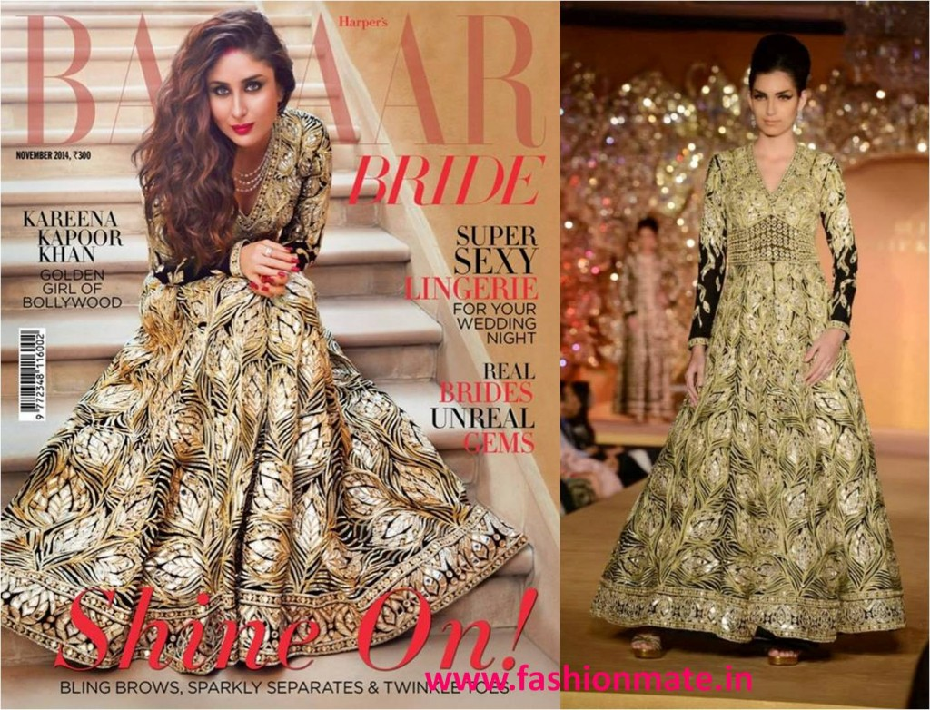 Kareena kapoor in abu sandeep golden anarkali for bazaar bride 2014