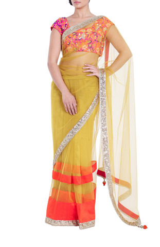 Vikram Phadnis Yellow Saree by vivaluxe Wedding collection