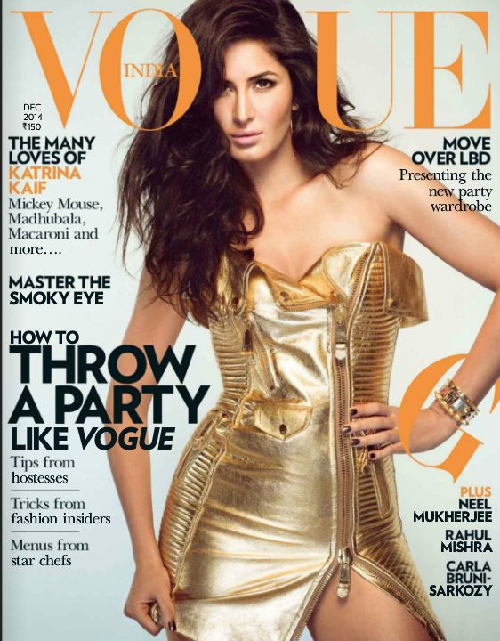 Metallic Trend - Katrina Kaif in Moschino on Vogue Cover December 2014
