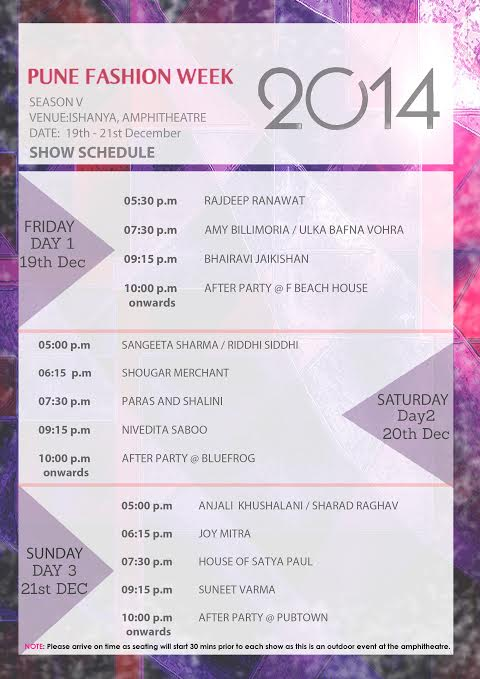 Pune Fashion Week 2014 - Fashion designers SchedulePune Fashion Week 2014 - Fashion designers Schedule