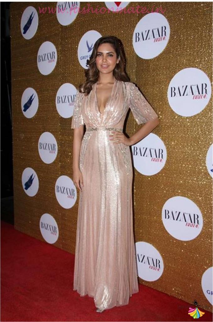 Actress Esha Gupta in Jenny Packham at Harpers bazaar bride anniversary
