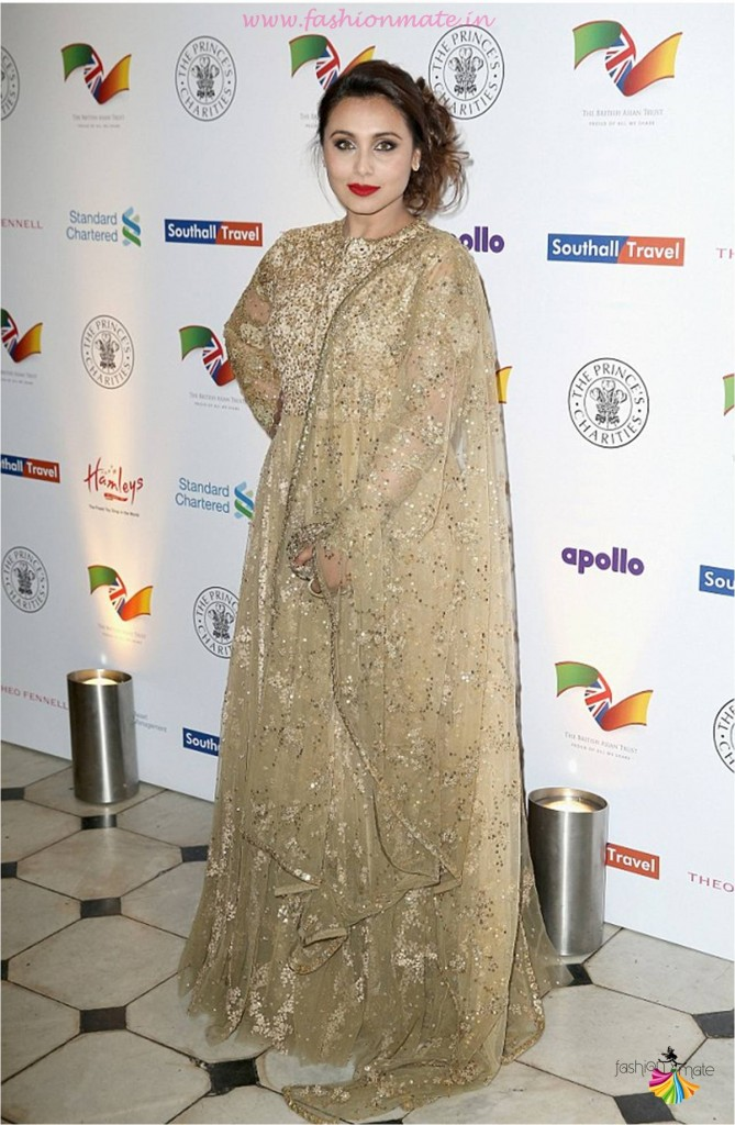 Actress Rani Mukherjee in Sabyasachi gold saree at Prince Charles foundation