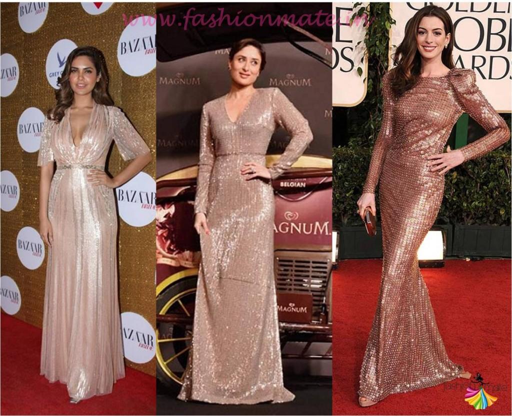 Kareena kapoor esha gupta in sequin gown shimmer trends 2015