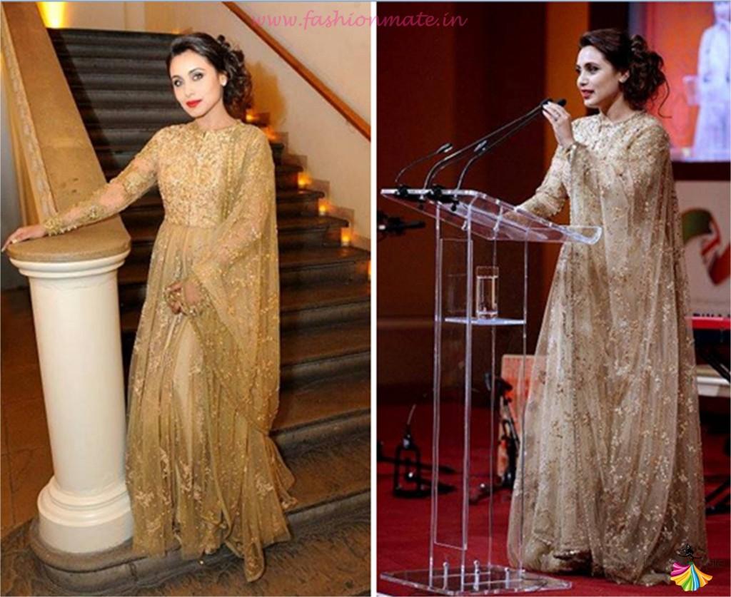 Rani Mukherjee in glitter gold fashion designer Sabyasachi salwar kameez