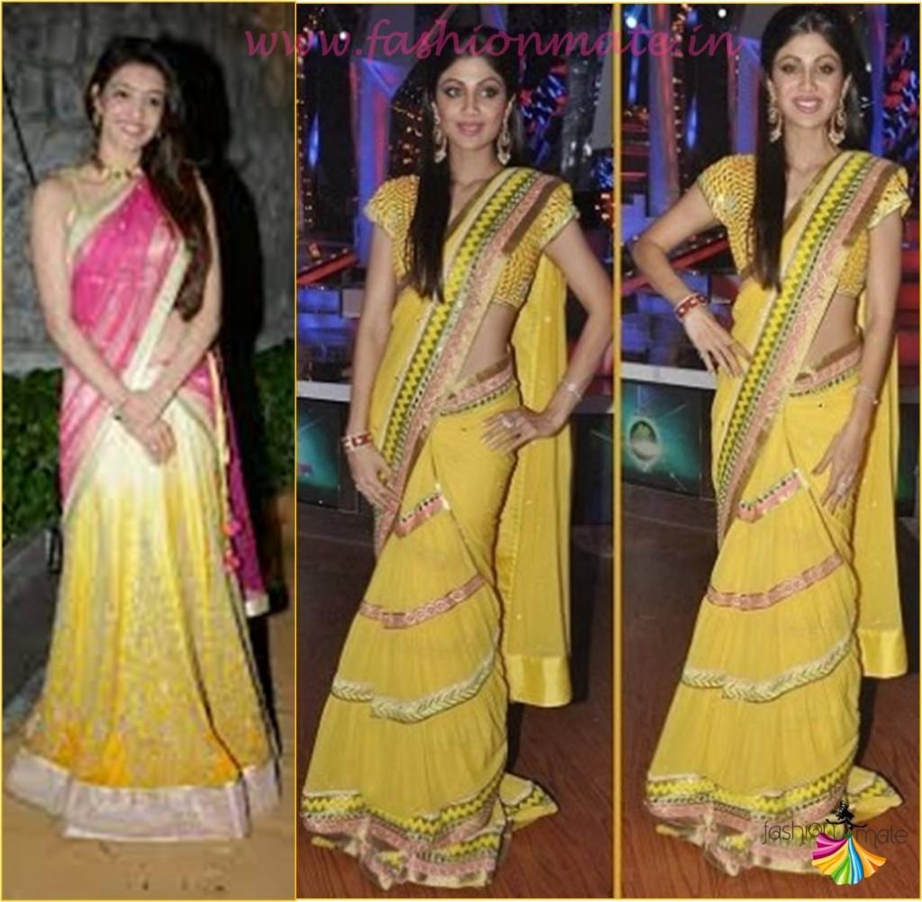 How to drape a south indian half saree deepika style - Saree fashion