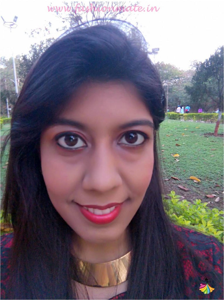 Indian beauty blog - red & gold eyeshadow make up tutuorial