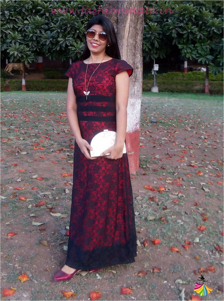 OOTD - Red lace gown for date night - style trends 2015