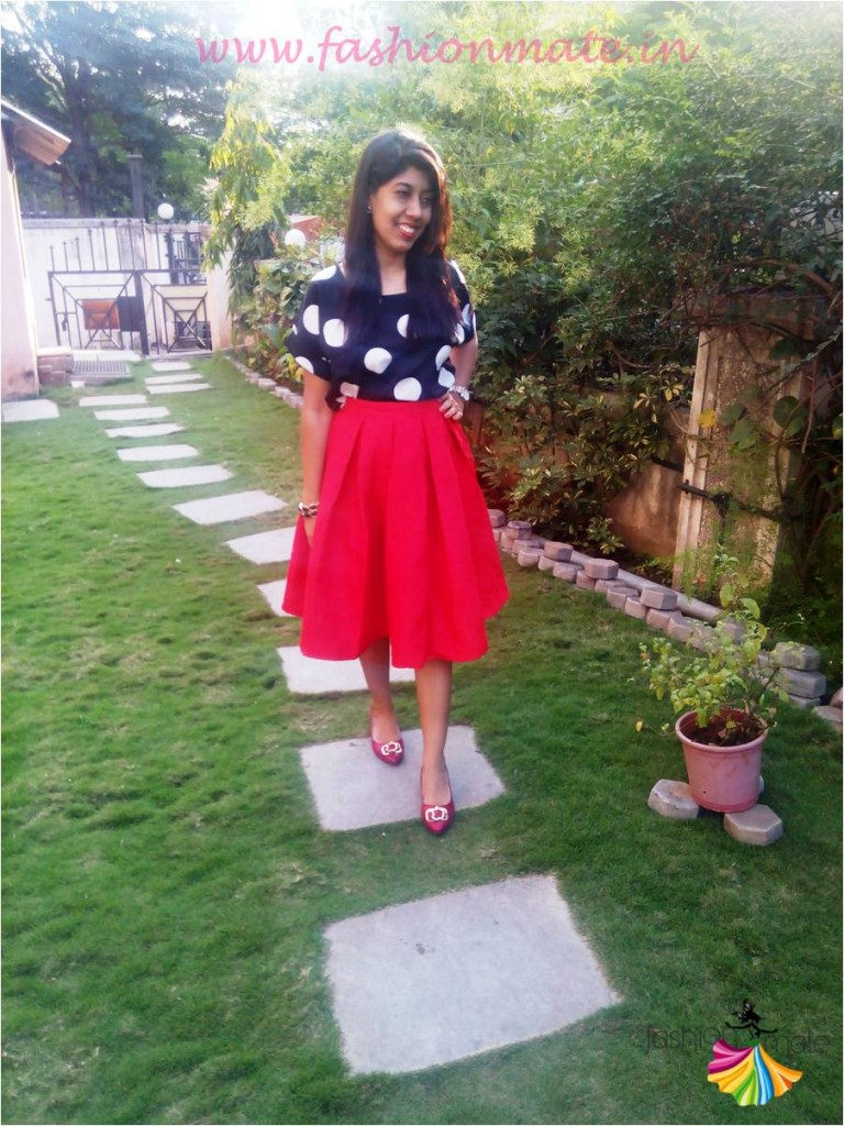 OOTD oasap pleat skirt & polka dot top fashion trends 2015