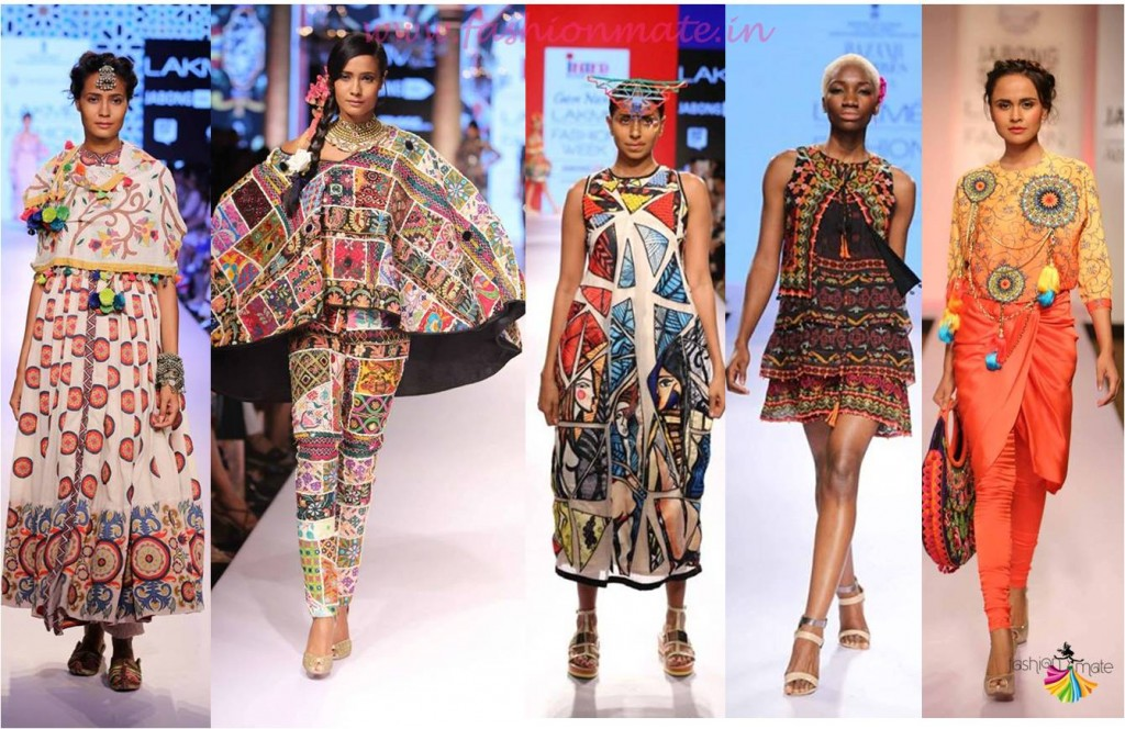 Tribal prints & traditional Gamthi embroidery top fashion trends lfw 2015